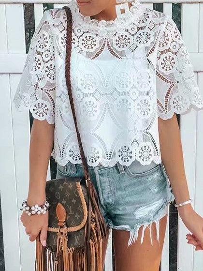 White Women Lace Blouse Cut Out Detail
