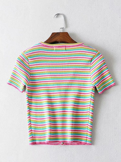 Polychrome Crop Top Stripe Ribbed V-neck Button Placket Front