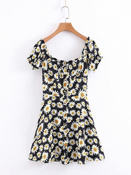 Black Mini Dress Off Shoulder Daisy Print Button Placket Front