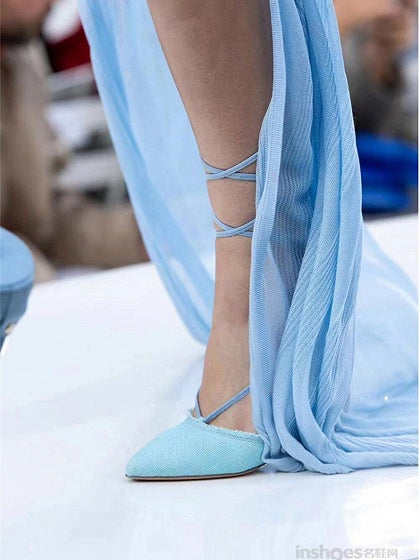 Blue Pumps Lace Up High Heeled