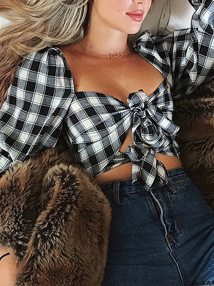 Black Crop Blouse Plaid Square Neck Tie Front Puff Sleeve