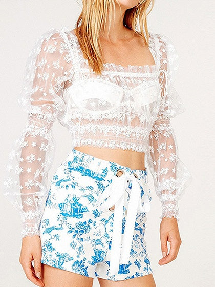 White Crop Top Off Shoulder Frill Trim Puff Sleeve Sheer Mesh