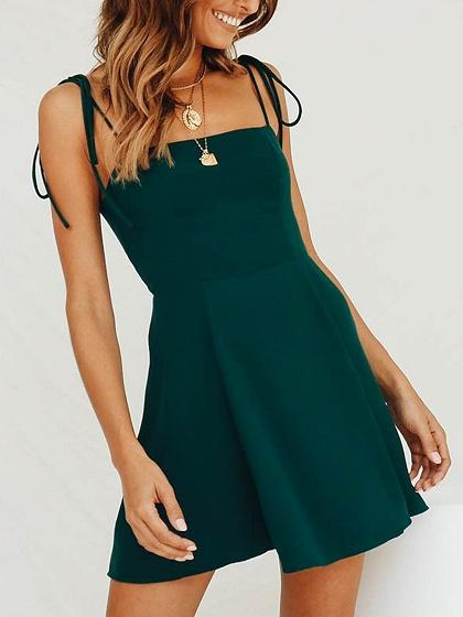 Green Asymmetric Hem Ruched Detail Cami Mini Dress