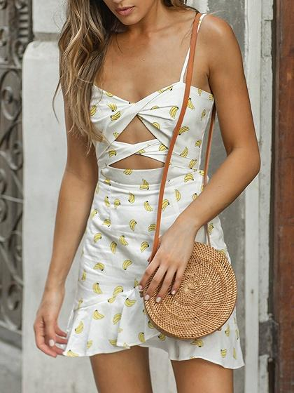 White Banana Print Knot Front Ruffle Hem Cami Mini Dress