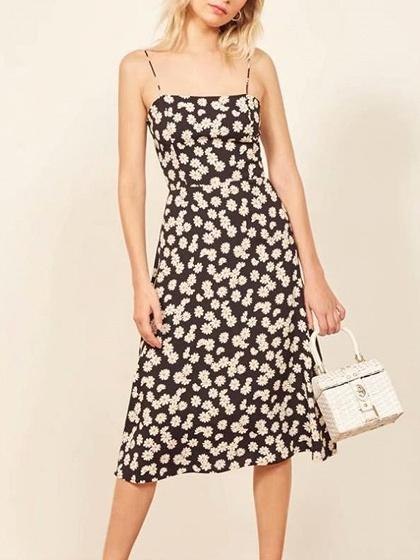 Dark Blue Daisy Print Cami Dress