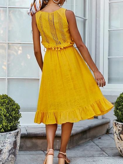Yellow V-neck Tie Waist Ruffle Hem Sleeveless Midi Dress