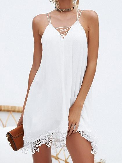 White V-neck Lace Up Front Lace Panel Cami Mini Dress