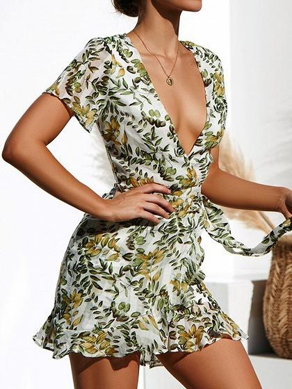 White Plunge Floral Print Ruffle Hem Mini Dress