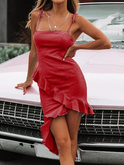 Red Ruffle Trim Asymmetric Hem Bodycon Cami Dress