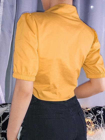 Yellow Tie Front Puff Sleeve Crop Blouse