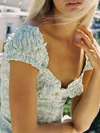 Light Green Floral Print Puff Sleeve Mini Dress