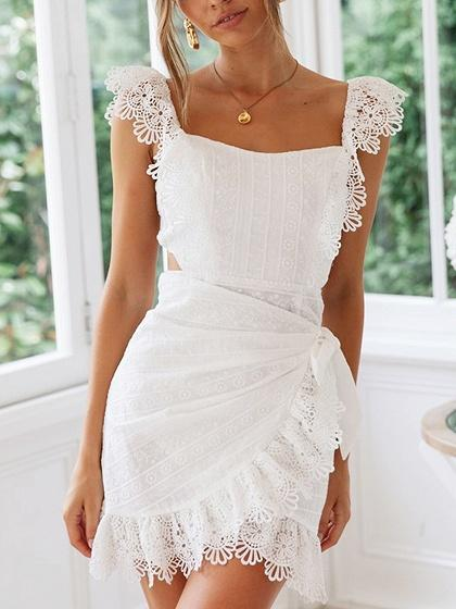 White Lace Trim Panel Open Back Mini Dress