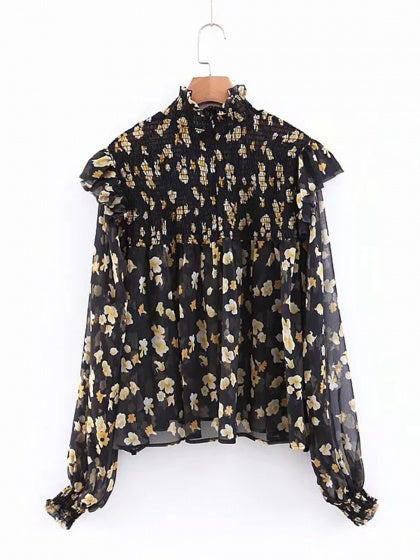 Black Blouse Chiffon High Neck Contrast Floral Print Puff Sleeve