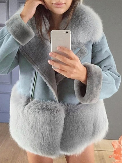 Light Gray Women Suede Coat Lapel Faux Fur Panel Long Sleeve