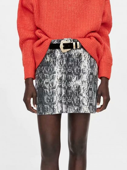 Gray Women Mini Skirt Snakeskin Print High Waist