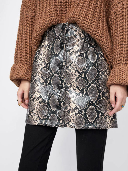 Gray Women Mini Skirt High Waist Snakeskin Print