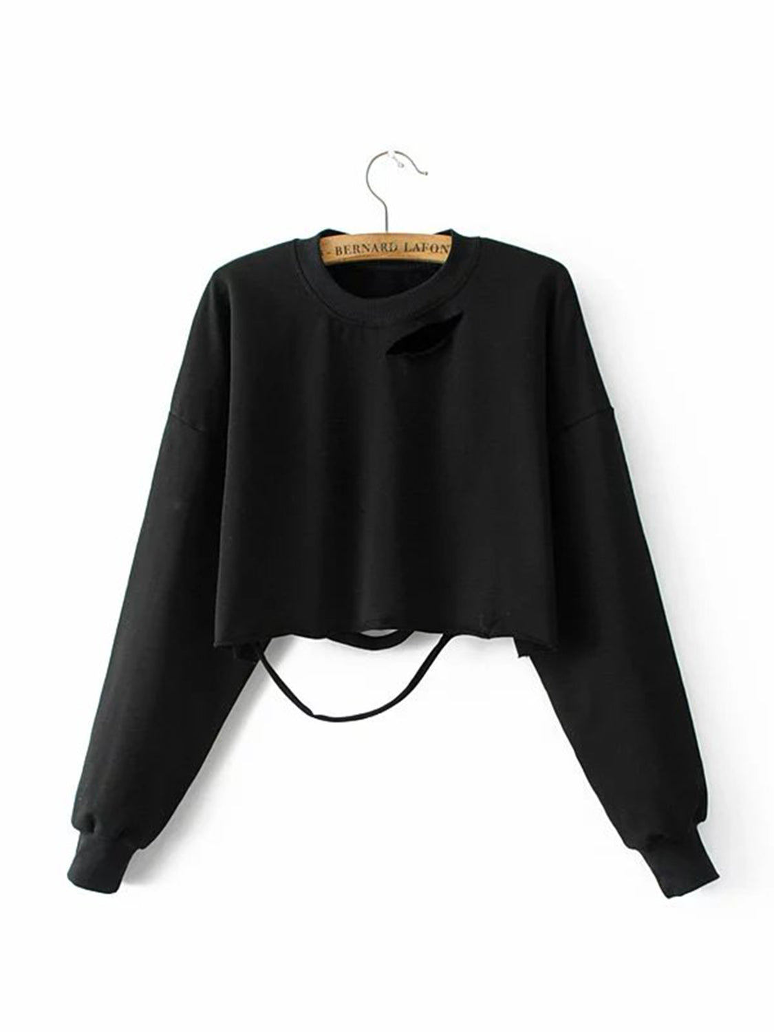 Black Women Crop Sweatshirt Cut Out Detail Long Sleeve