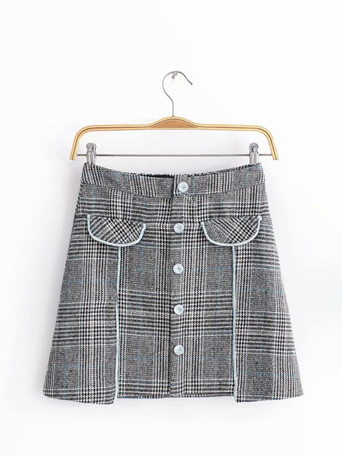 Gray Plaid High Waist Button Placket Front Mini Skirt
