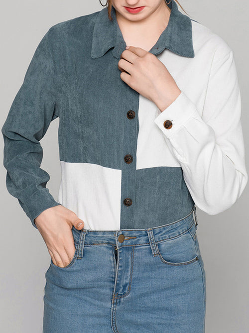 Blue Women Corduroy Shirt Contrast Long Sleeve