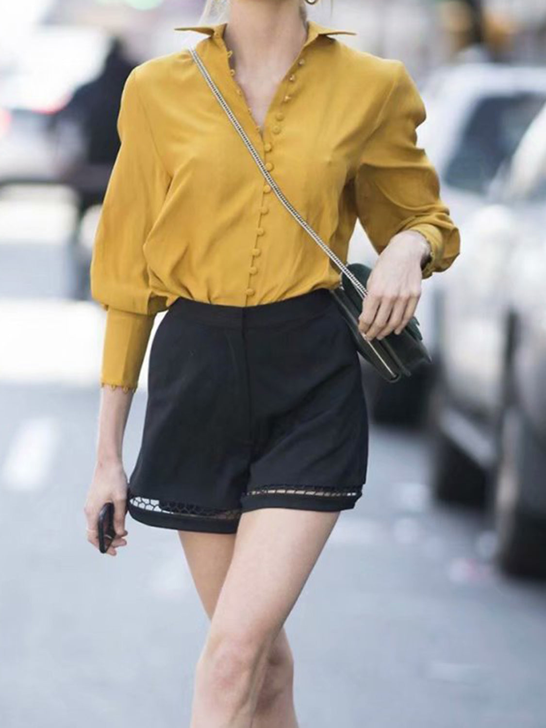 Yellow Lapel Button Placket Front Long Sleeve Women Shirt