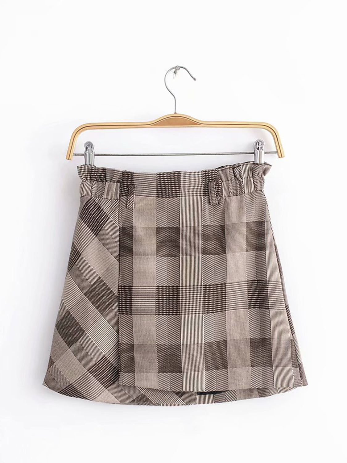 ba56f1717c89 Khaki Plaid Mini Skirt | Saddha