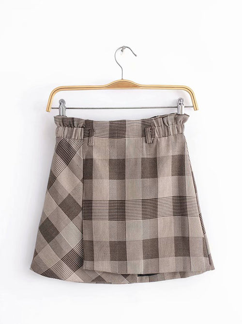 Khaki Plaid High Waist Vintage Women Mini Skirt