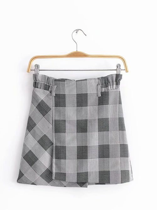 Gray Plaid High Waist Vintage Women Mini Skirt