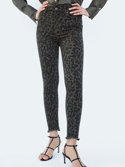 Dark Brown Leopard Print High Waist Women Jeans