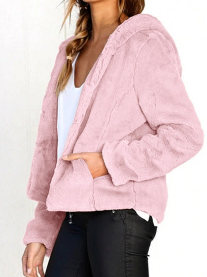 Pink Women Fleece Hooded Coat Long Sleeve