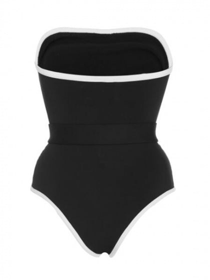 Black One-piece Swimsuit Contrast Bandeau