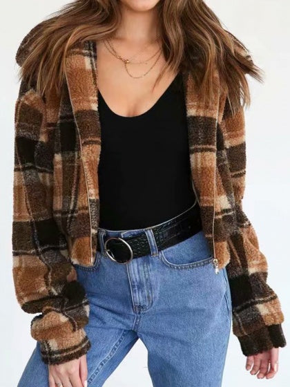 Brown Plaid Lapel Long Sleeve Women Faux Shearling Coat