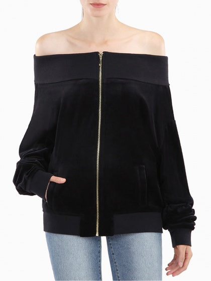 Black Women Coat Velvet Off Shoulder