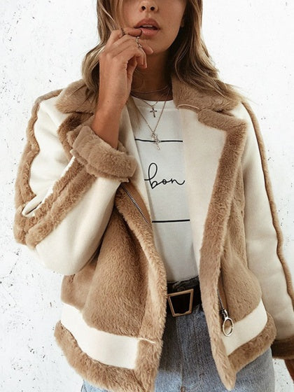 Khaki Women Faux Fur Coat Contrast Lapel Long Sleeve