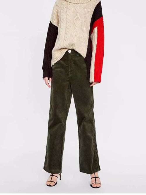 Army Green High Waist Women Corduroy Pants