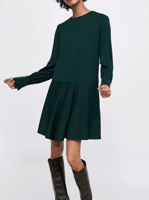 Green Women Mini Dress Crew Neck Ruffle Hem Long Sleeve