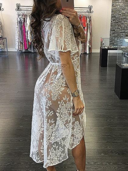 Plunge V-neck Tie Front Sheer Lace Beach Cover Up
