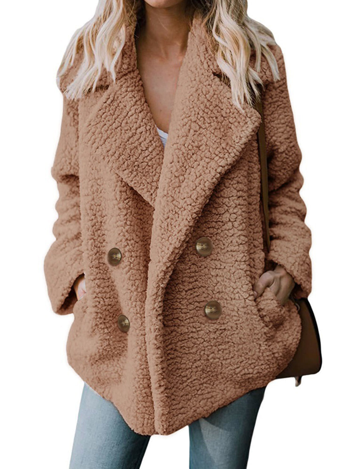 Camel Brown Women Coat Lapel Pocket Detail Long Sleeve