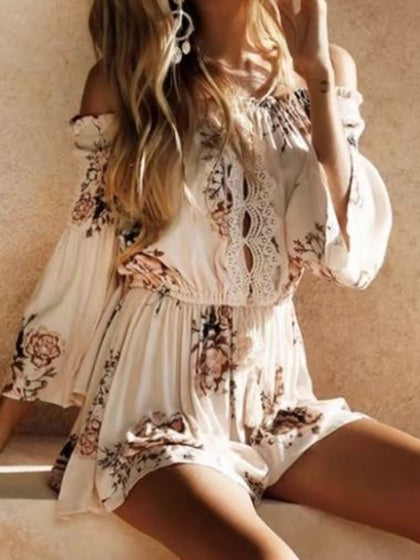 Beige Playsuit Off Shoulder Floral Print Drawstring Waist Flare Sleeve
