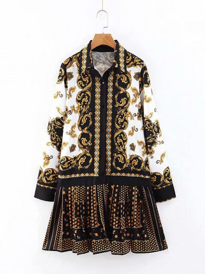 Black Lapel Folk Print Long Sleeve Women Mini Dress