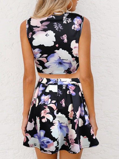 Black Two pieces Floral Print Sleeveless Crop Top And High Waist Mini Skirt
