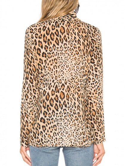 Brown Women Shirt Leopard Print Long Sleeve