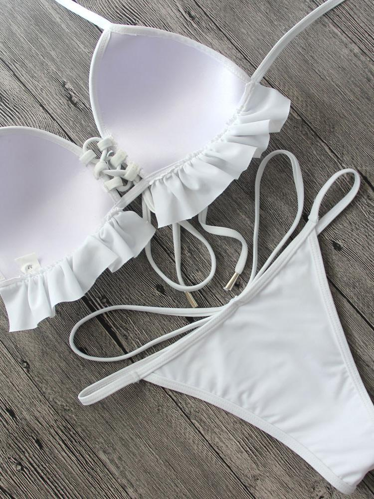 White Lace-up Front Ruffle Bikini Top And Strappy Bottom