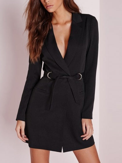 Black Women Blazer Lapel Tie Waist Long Sleeve