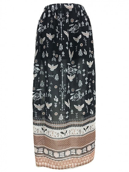 Black Maxi Skirt High Waist Print Detail Thigh Split Side