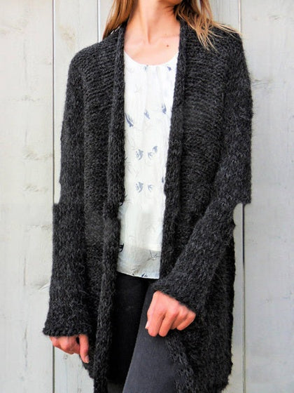 Black Women Mohair Knit Cardigan Long Sleeve