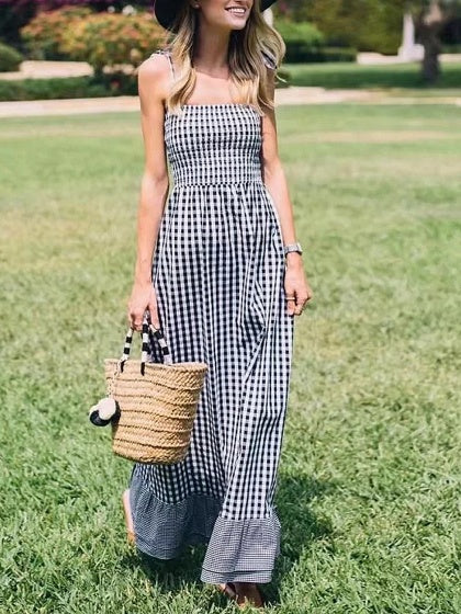 Black Plaid Spaghetti Strap Cut Out Back Ruffle Hem Maxi Dress