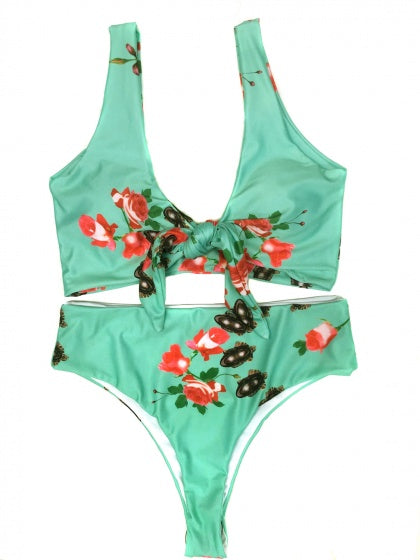 Green Floral Print Knot Front Bikini Top And High Waist Bottom