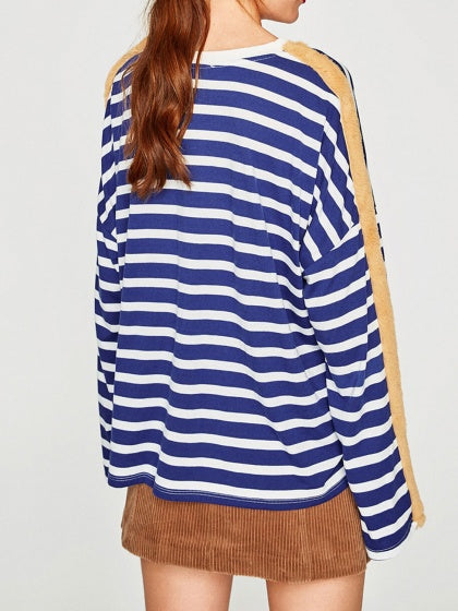 Blue Women Sweatshirt Stripe Fur Trim Panel Long Sleeve