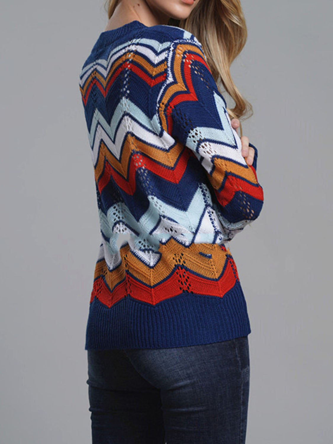 Dark Blue Contrast Chevron Print Long Sleeve Women Knit Sweater