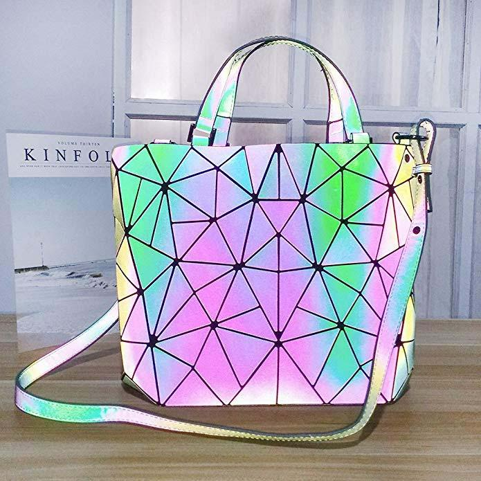 Geometric Luminous Rainbow Holographic Purses and Handbags